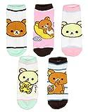San-x Rilakkuma Bears Adult Character Ankle No-Show Socks 5 PK