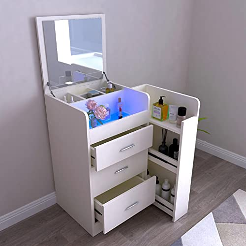 AIBEN 2 in 1 Folding Makeup Vanity Table Set Bedside Table, Dressing Table and Cushioned Stool with LED Light & 3 Drawers & Sliding Storage Cabinet for Bedroom, Gift for Women (White)