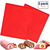 2 Pcs Luck Love Swiss Roll Cake Mat Flexible Baking Tray Jelly Roll Pan Silicone Cookies Mold...
