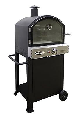 Hiland PSL-SPOC Propane Pizza Oven, 15,000 BTU, Temperture Gauge, 15'x14 Pizza Stone Included, Highly Efficient, Black