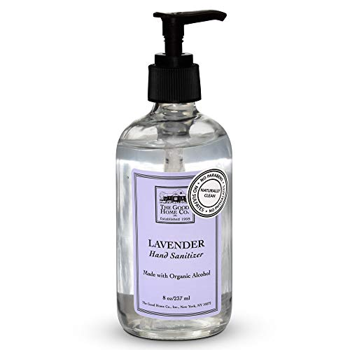 The Good Home Hand Sanitizer 8 Ounce Glass Bottle Hand Pump Included Lavender Scent 60% Organic Alcohol Kills 99.9% of Germs Paraben-Free, Phosphate-Free, Cruelty-Free,100% Vegan.