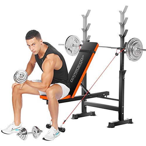 OppsDecor Weight Bench Adjustable Workout Bench Fitness Barbell Rack Strength Training for Home Gym (Orange)