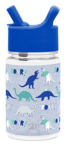 Simple Modern 12oz Summit Kids Tritan Water Bottle with Straw Lid for Toddler - Dishwasher Safe Travel Tumbler - Dinosaur Roar