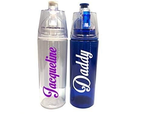Personalisierbare Spray-Trinkflasche, für Fitnessstudio, Sport, Schule, Werbeartikel, mit jedem Namen oder Text, BPA-frei