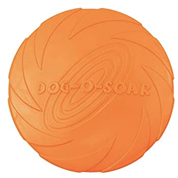 Frisbee d'entraînement pour chien en caoutchouc souple résistant aux morsures Orange