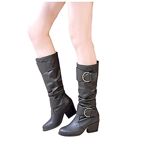 seanxw Women's Soft Leather Knee High Boots Round Toe Thick Heel Boots Vintage Casual Shoes with Belt Buckle