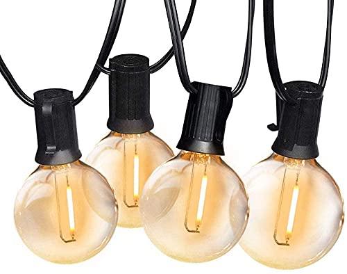 Guirnalda de luces, GLURIZ G40 Tira de bombillas LED, 25+2 Bombillas 15 Metros Guirnalda luces exterior Impermeable, Guirnalda bombillas exterior para Garden Terrace, Luces de patio de Navidad