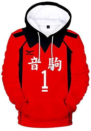 HAOSHENG Unisexe Haikyuu Pull à Capuche Hinata Kageyama Karasuno High School Hoodie Hommes Femmes Volleyball Junior(XL)