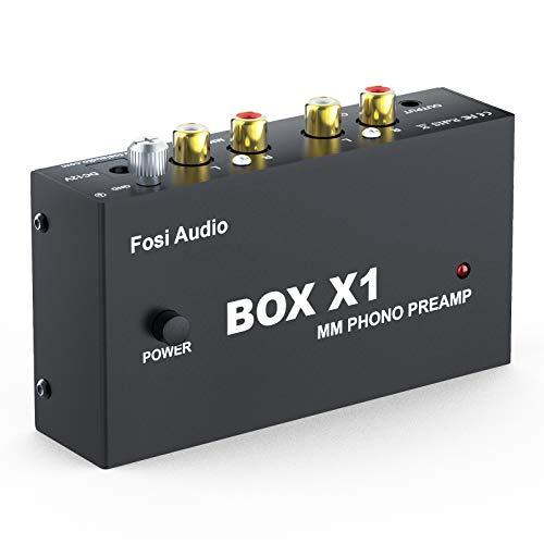 Fosi Audio Box X1 Preamplificatore Phono per Giradischi MM, Mini Preamp Audio Stereo Hi-Fi per Fonografi/Lettori di Dischi, con Cuffia 3.5MM e Uscita RCA, con Alimentazione DC 12V