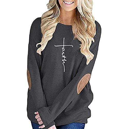 VECDY Bluse Damen Mode Frauen Brief Pullover Damen Tops lose Lange Ärmel Feste Patchwork Bottom T-Shirt Bluse Elegant Sweatshirt S-XL