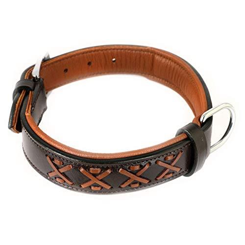 Monkimau Halsband für Hunde aus echt Leder mit Zierflechtung gepolstert verstellbar L 40-48 cm