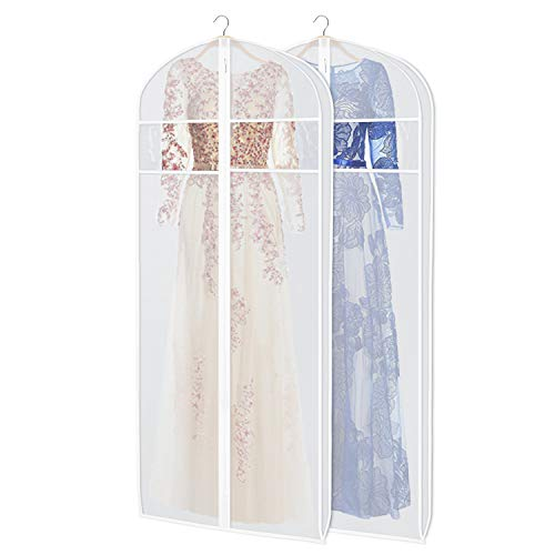 Zilink Dress Garment Bags for Storage 72-inch with Clear Window and 3' Gusset Dust-Free Dress Cover Bag for Long Evening Dresses,Fur Coat, Long Dress Gown Closet Storage