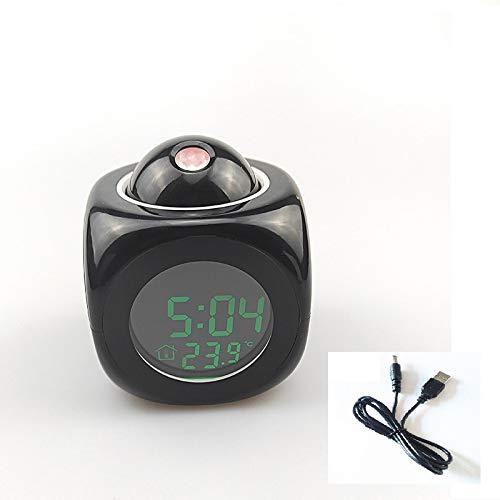 WWWL Despertador Reloj Despertador Digital LED proyector Temperatura termómetro Fecha Fecha Pantalla Calendario de proyección USB Cargador Reloj de Mesa BlackwithUSB