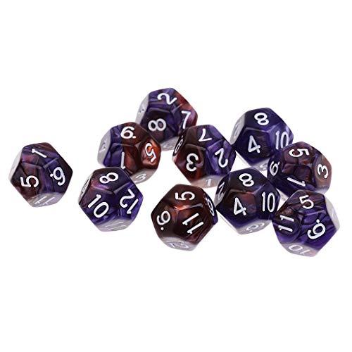 Dados poliédricos 60 Piezas Dados de 12 Caras Dados D12 Dados poliédricos para Mazmorras y Dragones Party Table Games para la enseñanza de matemáticas ( Color : Purple Coffee 12mm )