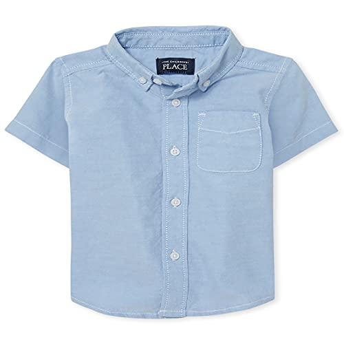 The Children's Place Baby Boys and Toddler Boys Short Sleeve Button Down Shirt, Light Blue Oxford, 3T