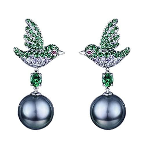 Serria Pendientes de gota de perlas para mujeres, pendientes de aves Pendientes de zirconia cúbica Pendientes de circunvalas, pendientes de perlas azules para mujeres (Azul)