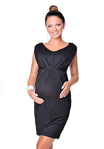 Purpless Damen Umstandskleid Schwangerschaft Cocktail-Kleid Knielang Ärmellos 8437 (36, Black)
