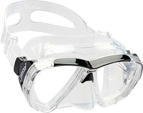 Cressi Ojos Grandes de Buceo Snorkeling Amplia Vista–Máscara de Buceo Italiano Calidad Desde 1946, Transparent/Black