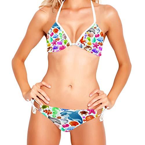 Bikinis Conjuntos para mujer Icono de viaje de mar Conjunto de traje de baño de playa XS-XXL