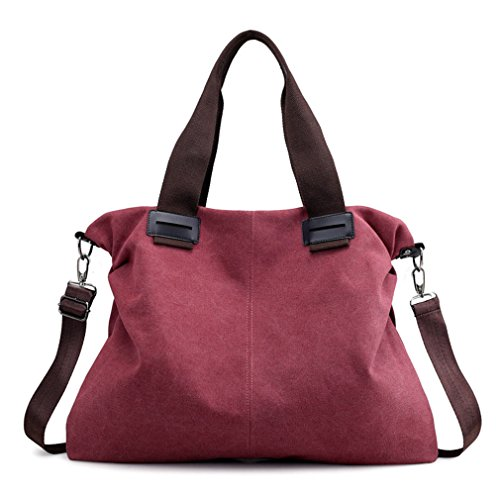 Lady's Vintage Canvas Work Totes Shoulder Bags Travel Purse Crossbody Bag (Red)