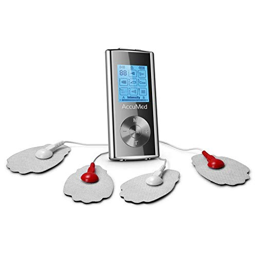 AccuMed Rechargeable Tens Unit Muscle Stimulator EMS Electronic Pulse Massager Stim Machine for Physical Therapy Back and Neck Pain Relief Portable Electric Tinge Electro-Therapy 8 Modes (AP210)