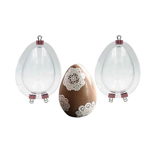 Jun Ostereier-Formen, 2 Stück, transparente Schokoladenform mit Metall-Clips, 3D-Eier-Form, Schokoladenform, Fondant, Kuchenform für Osterdekoration, 10 cm hohe Eier