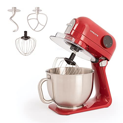IKOHS DOWNMIX Retro - Batidora Amasadora, Amasadora para Repostería, Robot de Cocina Automática Multifuncional con Tres Accesorios, 5L, 6 Velocidades, 1200W, Bol de Acero Inoxidable (Rojo)