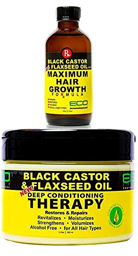 Price comparison product image Eco Style Black Castor & Flaxseed Oil Hair Care (GROWTHOIL&DEEPCOND)