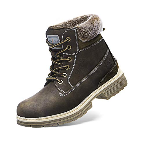 ANJOUFEMME Women Hiking Snow Winter Boots - Outdoor Waterproof Lightweight Boots for Women, Round Toe Work Boots Comfortable and Warm FNW19-Brown-8.5