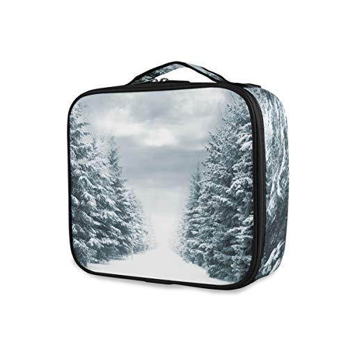 Trousse de maquillage Snowy Road Blue Evergreens Grey Clouded Sky Portable Travel Storage Girls Tools Cosmetic Train Case Trousse de toilette