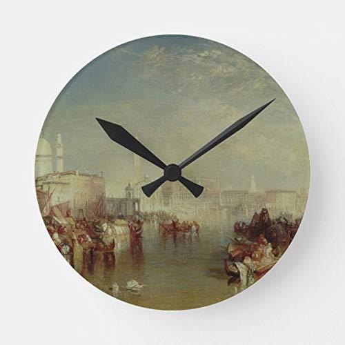 CiCiDi Joseph Mallord William Turner, Venice, 1840 runde Uhr, batteriebetrieben, nicht tickend, geräuschlos, kunstvolle Wanduhr, Schreibtischuhr, dekorativ
