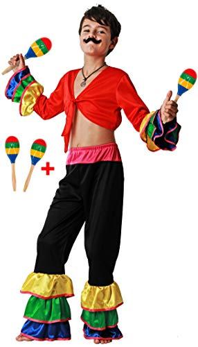 Gojoy shop- Disfraz de Brasileño para Niño Carnaval (Contiene Camiseta, Pantalón y 2 Maracas de Madera, 4 Tallas Diferentes) (7-9 años)