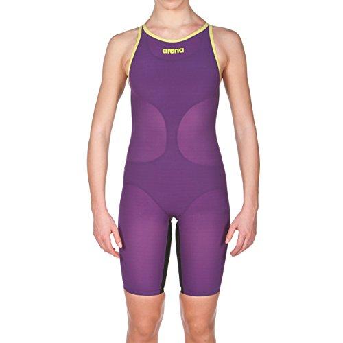 ARENA Powerskin Carbon Air Badeanzug, geschlossener Rücken, Fuchsia/Titanblau, Damen, Badeanzug, Powerskin Carbon Air Swim Suit - Closed Back, Pflaume/Fluoreszierendes Gelb, 30