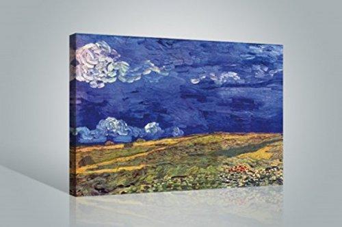1art1 Vincent Van Gogh - Weizenfeld Unter Einem Gewitterhimmel, 1890 Bilder Leinwand-Bild Auf Keilrahmen   XXL-Wandbild Poster Kunstdruck Als Leinwandbild 120 x 80 cm