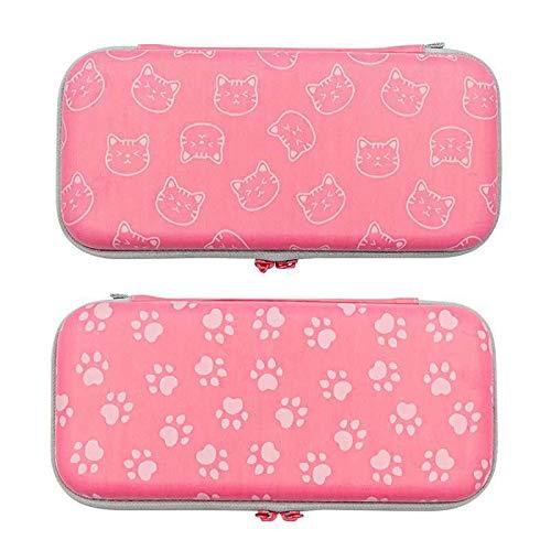 Omnpak Switch Tragetasche für Nintendo Switch, mit 10 Spielkartuschen, schützende Hartschale, Reise-Tragetasche, Tasche für Nintendo Switch Konsole & Zubehör, Rosa (Katze)