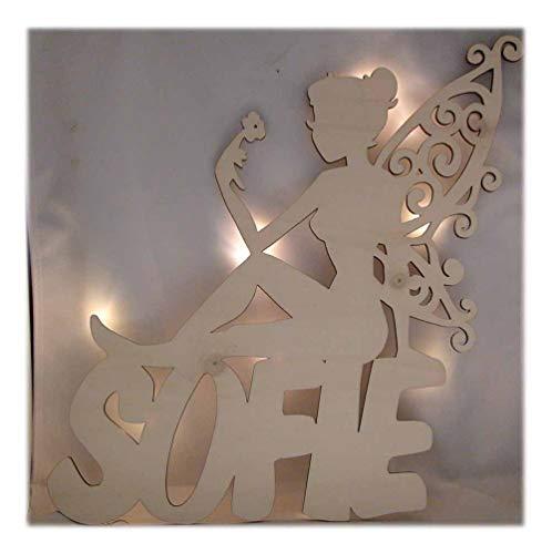 Schlummerlicht24 Led Design Bild Fee Floria mit Name Lampe Zubehör Geschenk Mädchen Kinder Baby Kinderzimmer Deko