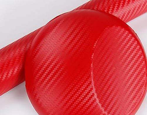 10x127cm 3D Hoogglans Koolstofvezel Vinyl Film Auto Styling Wrap Motorfiets Auto Styling Accessoires Interieur Koolstofvezel Film, rood