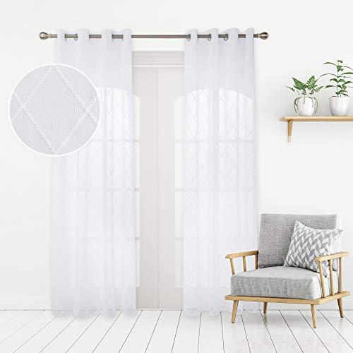 Deconovo Cortinas Visillos para Ventana Cortina Transparente con Ojales para Dormitorio y Salón 2 Piezas 140 x 180 cm Blanco