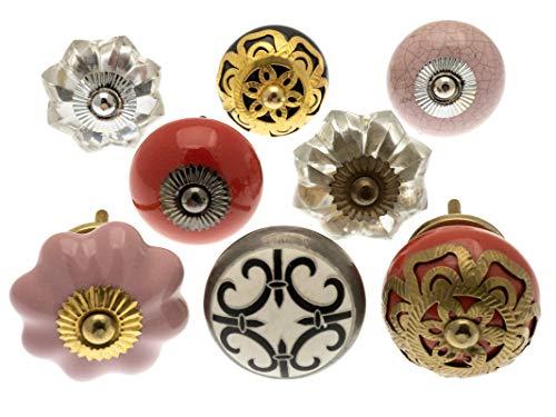 knoa Möbelknäufe aus Keramik mit geschliffenem Glas, elegantes Rot, Schwarz und Weiß - (Packung mit 8 St.)