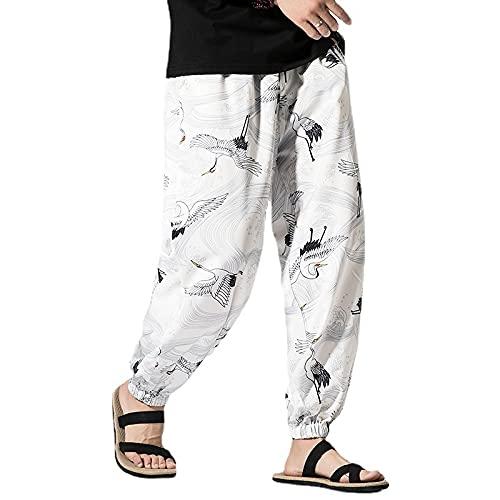 Pantalones de hombre con estampado de grúas de estilo japonés para hombre, pantalones de verano para hombre, pantalones deportivos Harajuku M-5XL (color: blanco, tamaño: 2XL)