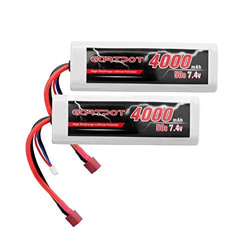 GARTPOT 7.4V 4000mAh 50C 2S RC LiPo Battery Hardcase with Deans Plug for Tamiya TT01 RC Truck Car Losi Slash Buggy Team Associated (2 Packs)