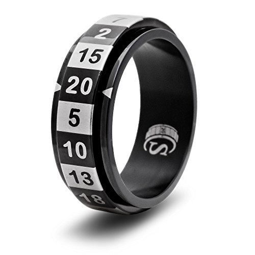 CritSuccess d20 Dice Ring with 20 Sided Die Spinner (Size 13 - Stainless Steel - Black)