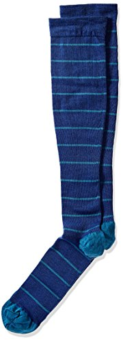 Dr. Scholl's Men's Graduated Compression 1 Pair Over the Calf Stripe, Compression, Flat Knit, 10.5-12 Large, Blue/Navy
