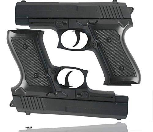 TK Gruppe Timo Klingler 2X Pistolen Kostüm Erwachsene 6 mm für Fasching Karneval Pistole wie Geheimagent, Lara Croft, SWAT, Tomb Raider, Polizei