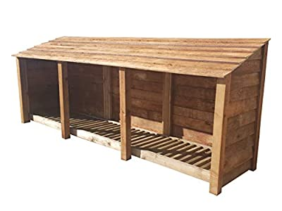 Arbor Garden Solutions Wooden Log Store 4Ft Extra Large (3.4 cubic meters capacity) (W-335cm, H-126cm, D-81cm)