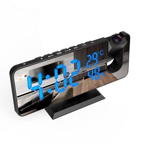 ShinePick Despertador de proyección, USB Reloj Proyección Digital 180° Giratorio, con FM Radio con Pantalla LCD Grande, Función de Humedad Temperatura y Cronometraje 12/24H, para Dormitorio, Oficina