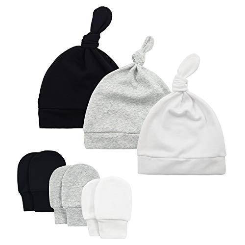 Durio Baby Hat Mittens Soft Baby Hat and Mittens Set Cute Baby Mittens 0-6 Months Newborn Hat Mittens for Baby Girls Boy E Black & Gray & White & Navy