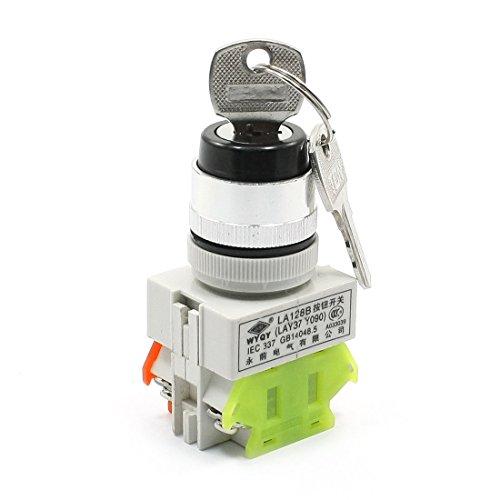 Bloqueo de montaje en panel de control 2 posiciones NO + NC Interruptor giratorio DPST con 2 llaves