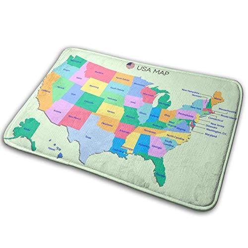 wteqofy Alfombra de baño para puerta de baño, diseño de mapa de Estados Unidos con nombres en fondo cian con espuma viscoelástica, para cocina, para el interior al aire libre, 15,7 x 59,7 cm