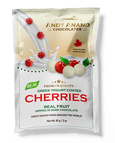 Andy Anand Chocolates Premium California Greek Yogurt Coated Cherries, All Natural, Made from Natural Ingredients- (Pack of 2– 3oz).